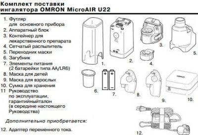 Комплектация небулайзера Омрон у22